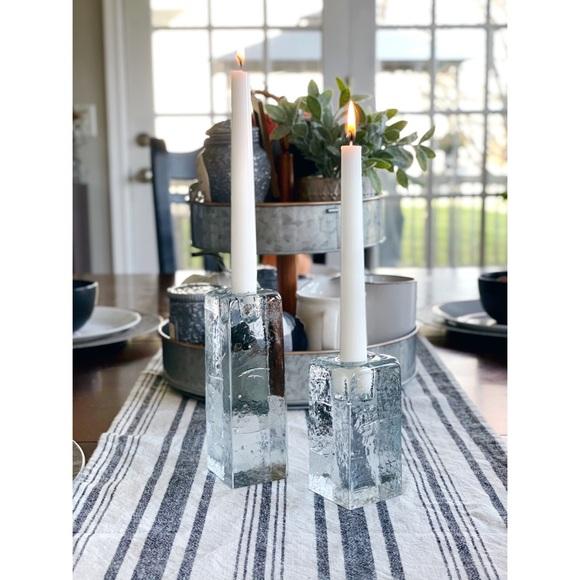 VTG Blenko ice block candle holders